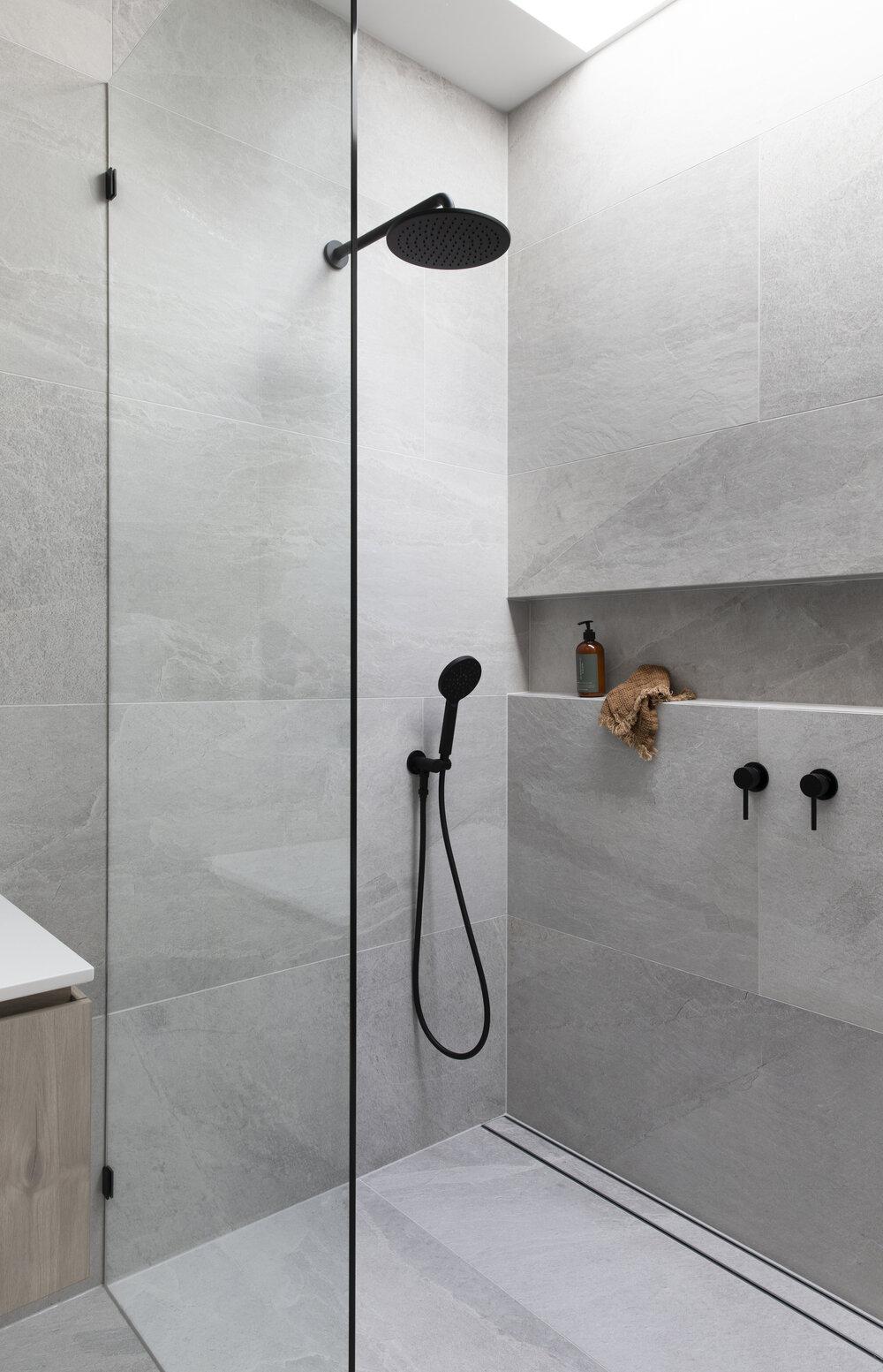 Grey+large+format+tiles+shower